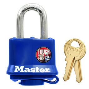 "Weather tough, 1"" Shackle, Blue, Carded Padlock (Master Lock)"